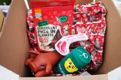 CHRISTMAS DINNER HAMPER DOG TOYS AND TREATS PIGS IN BLANKETS & SQUEAKIES